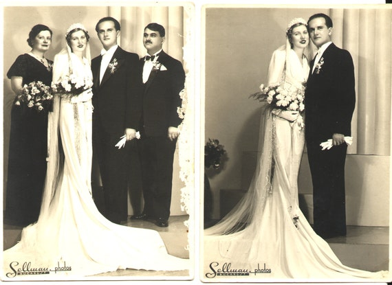 Unforgettable Wedding - 2 Large Vintage Cabinet photos, 1938's