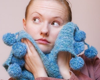 Handmade Scarf with Tassels, Custom Knitted Scarf, Long Scarf, Super Soft Novita Yarn, Light Blue, Gift for Her