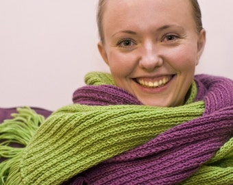 Handmade Scarf with Fringes, Custom Knitted Scarf, Long Scarf, Different Colors, Super Soft Novita Yarn