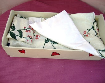 Doll Bedding Set 4pcs, Doll Bed Linen, 100% pure cotton - Sheet, Blanket, Pillowcase, Pillow, Lovely gift, Ivory White Floral