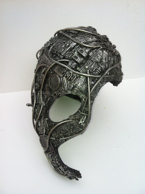 full head techno phantom mask or borg head