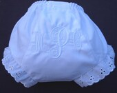 Personalized Diaper Covers White on White with Fancy Script Initials