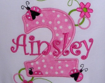 Girls' Birthday Pink Ladybug T Shirt or  Bodysuit