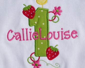 Girls' Birthday Strawberries  T-Shirt or Bodysuit