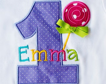 Girls' Birthday Rainbow Colors and  Lollipop  T-Shirt or Bodysuit