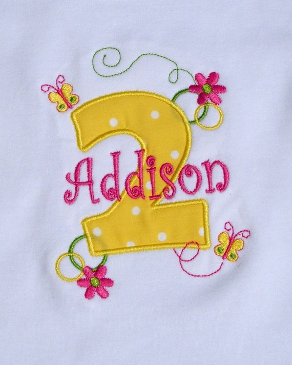 Girls' Birthday Butterflies and Flowers  T-Shirt or Bodysuit