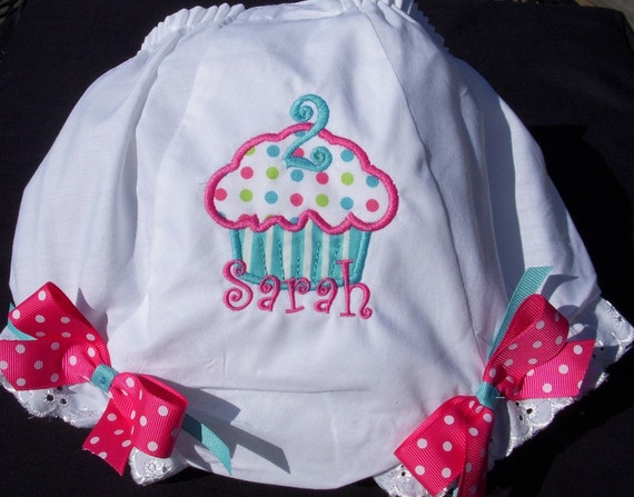Personalized Birthday Aqua and Pink Cupcake  Diaper Cover