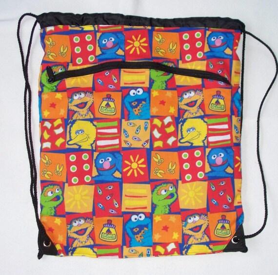 Sesame Street Backpack Bag, LAST ONE,  Nylon Lined. Zipper Pocket