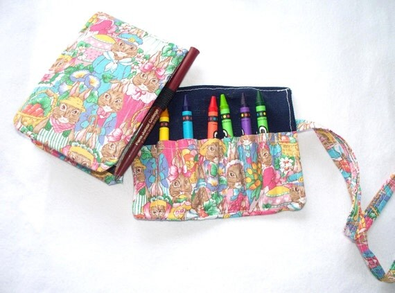 Mini Notebook and Crayon Roll, Bunnies and Rabbitts