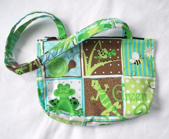 Green Frog, Turtle, Lizard, Snail, Cricket  Medium, Over the Shoulder Insect Tote Bag