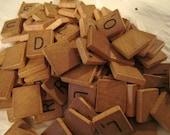 50 Vintage Natural Wood Scrabble Tiles, Bulk Scrabble Tiles