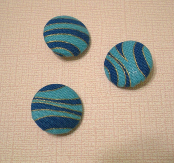 PIF 3 Peacock Blue Wavy Fabric Buttons--shank