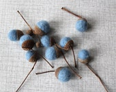 Reserved order for Nini Nielson: 10 custom made blue felted acorns