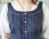 SALE - Folk inspired blue pinafore dress, 70s