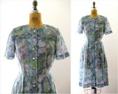 SALE vintage 1950s dress monet water lilies watercolor florals dress