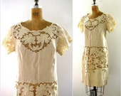 vintage 1950s 1960s madeira lace cutwork beige linen dress large extra large L XL