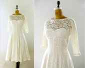 vintage 1950s dress / white wedding gown floral lace nude illusion full skirt mid calf length medium m