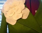 Cream felt flower brooch