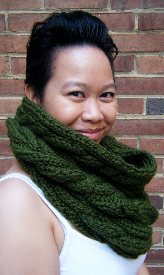 The U Street Cowl - Olive. READY TO SHIP Chunky Cowl