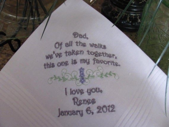 Personalized Father of the Bride machine embroidered wedding handkerchief by Simply Sweet Hankies