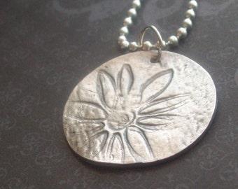 Fine Silver Flower/Daisy Pendant