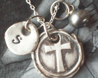 Cross Charm Initial Necklace with birthstone