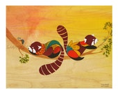 Making New Friends - art print featuring red pandas