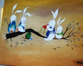 Bunny Teeter-Totter (Mounted Art Print)