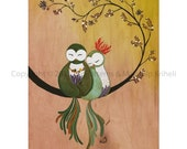 A Whisper Of Love art print featuring owls