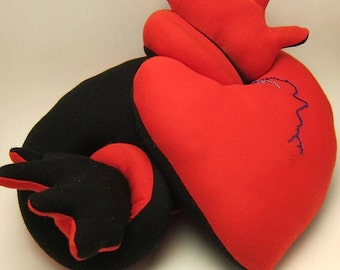 Gothic valentine heart plush anatomical stuffed black valentines day gift