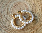 White Jade Beaded Hoops
