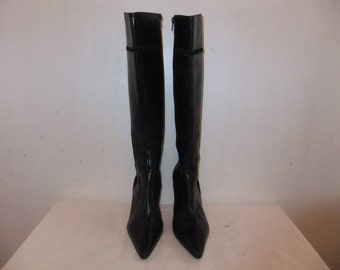 Lovely Ladies Black High Heel leather Boot