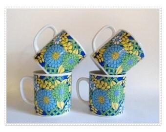 Flower Power Set of 4 Cups - Blue Green - MOD -60s 70s Hippie Retro Porcelain