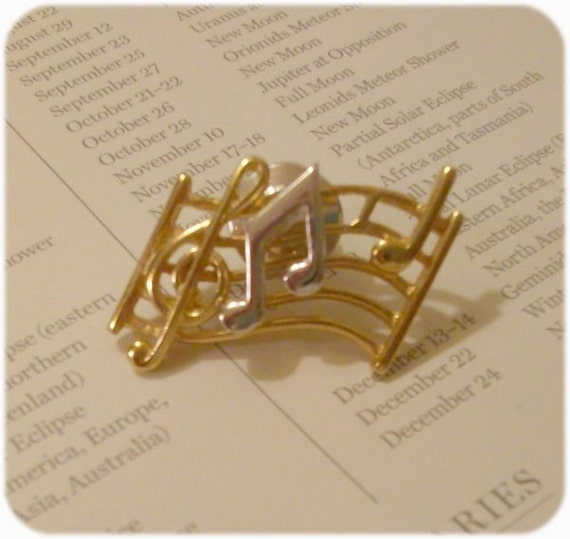 Music Pin Tie Tack Lapel Pin / Gold and Silver / Notes and Staff Signature