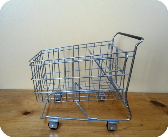 Small Miniature Metal Chrome Wire Shopping Cart on Wheels - Display Piece - Junk Holder - TOY