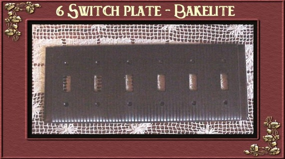 Art Deco  BAKELITE 6 Gang 6 Light Switch Plate Brown / NOS / Renovation / Made by Uniline
