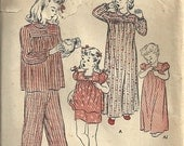 vintage sewing pattern BUTTERICK 3309 girls NIGHTGOWN and PAJAMAS 1940s