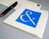 Ampersand Greeting Card, Handprinted Blue Linocut Typography 5x7 Notecard - CursiveArts