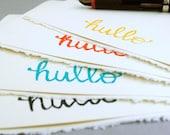 Rainbow Hullo Notecards, Set of Four Cards