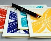 Set of Four Stargazer Lilies Blank Notecards, Hand-printed  Block Print Tropical Flower Linocut Cards