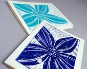Two Lily Notecard Set,  Pair of Stargazer Lily Blank Cards, Handprinted 5x7 Greeting Cards
