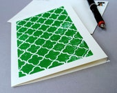Quatrefoil Blank Notecard - Green Patterned Linocut Card - 5 x 7 inches