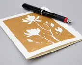 Copper Magnolia Silhouette Greeting Card, Handprinted 5x7 Floral Print Notecard