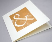 Copper Ampersand Notecard -  Typography Card, 5x7 inches, Handprinted, Blank Inside