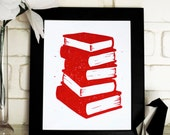 Book Stack Block Print, 8x10 Red and White Linocut Print