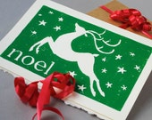 Green Reindeer Christmas Card, Noel 5x7 Hand-printed Holiday Notecard