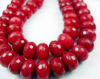 Gemstone Beads,  Ruby Jade Gemstone Faceted Rondelle Beads  12x8mm    4 inches 10 pcs