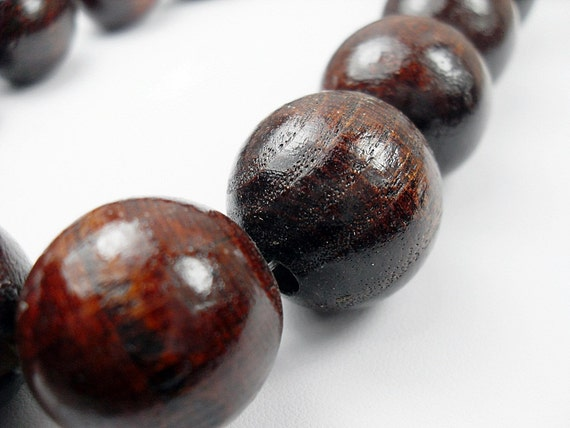 Wood Round  Beads, Chunky Brown Beads, Rounds, 30 mm  5 pcs