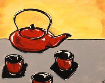 Red Teapot original acrylic painting on 8x10 canvas