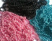 25 COLORED Ball Chain Necklaces (Black, Aqua, Pink, Purple and Silver) - 24 inch, 2.4mm